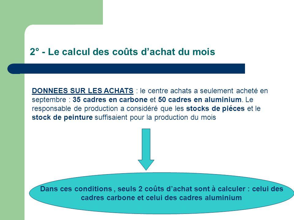 2° - Le calcul des coûts d'achat du mois DONNEES SUR LES ACHATS : le centre achats a seulement acheté en septembre : 35 cadres en carbone et 50 cadres en aluminium.