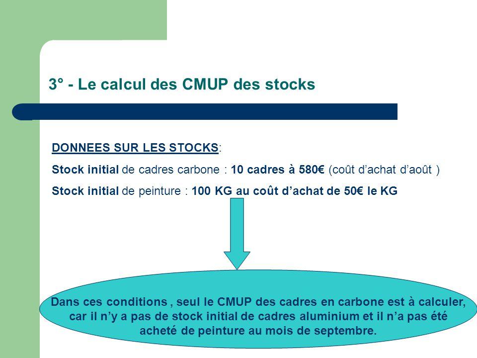 3° - Le calcul des CMUP des stocks DONNEES SUR LES STOCKS: Stock initial de cadres carbone : 10 cadres à 580€ (coût d'achat d'août ) Stock initial de peinture : 100 KG au coût d'achat de 50€ le KG Dans ces conditions, seul le CMUP des cadres en carbone est à calculer, car il n'y a pas de stock initial de cadres aluminium et il n'a pas été acheté de peinture au mois de septembre.