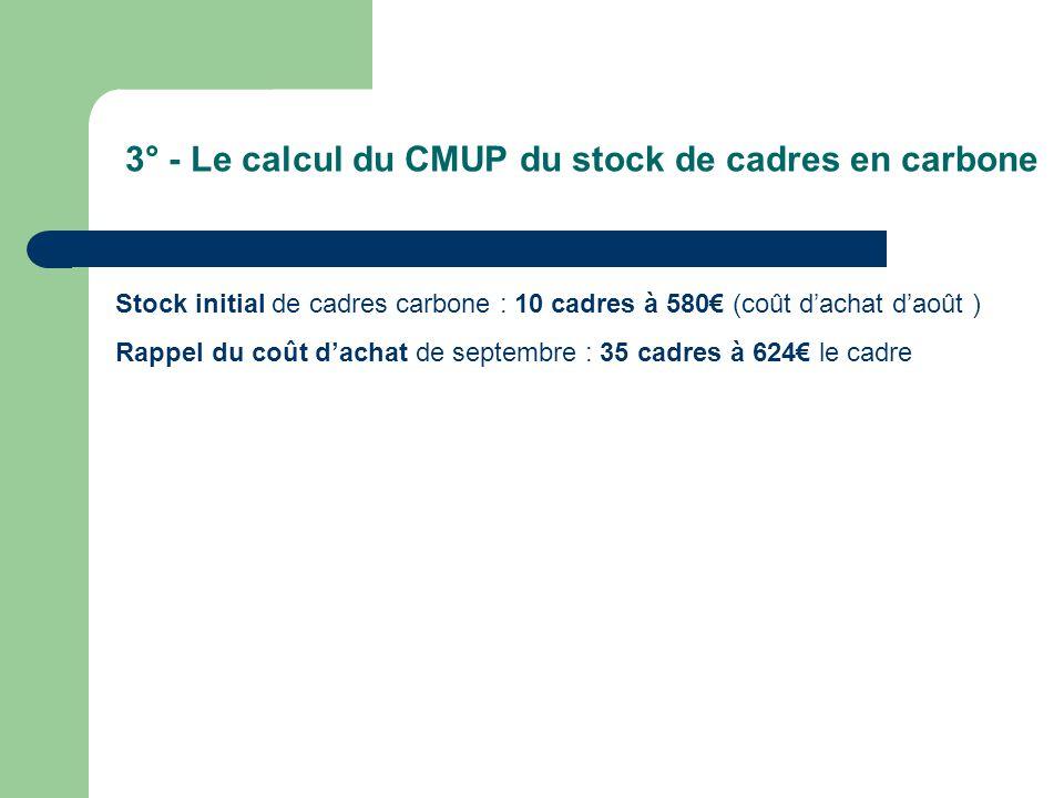 3° - Le calcul du CMUP du stock de cadres en carbone Stock initial de cadres carbone : 10 cadres à 580€ (coût d'achat d'août ) Rappel du coût d'achat de septembre : 35 cadres à 624€ le cadre