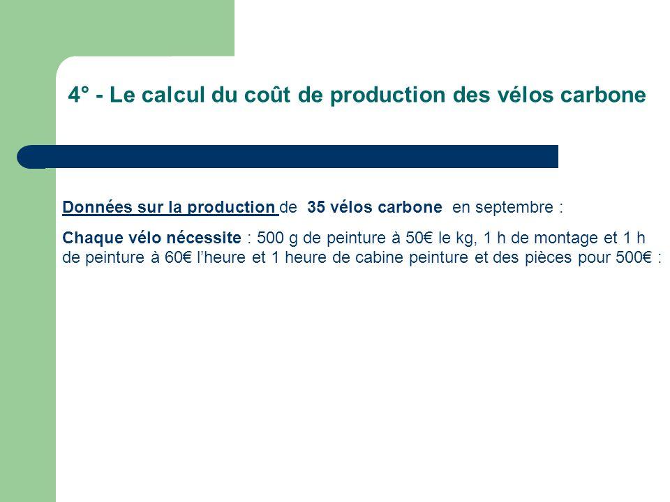 4° - Le calcul du coût de production des vélos carbone Données sur la production de 35 vélos carbone en septembre : Chaque vélo nécessite : 500 g de peinture à 50€ le kg, 1 h de montage et 1 h de peinture à 60€ l'heure et 1 heure de cabine peinture et des pièces pour 500€ :