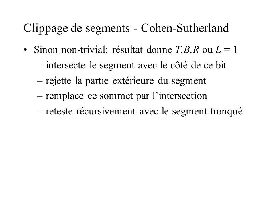 Clippage de segments - Cohen-Sutherland Sinon non-trivial: résultat donne T,B,R ou L = 1 –intersecte le segment avec le côté de ce bit –rejette la par
