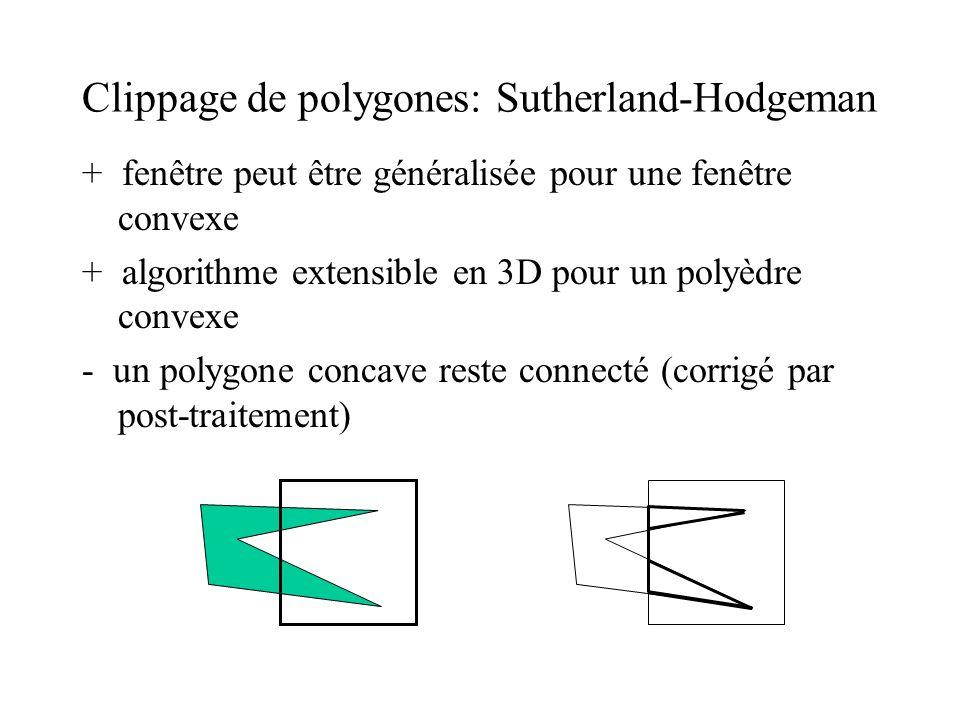 Clippage de polygones: Sutherland-Hodgeman + fenêtre peut être généralisée pour une fenêtre convexe + algorithme extensible en 3D pour un polyèdre con