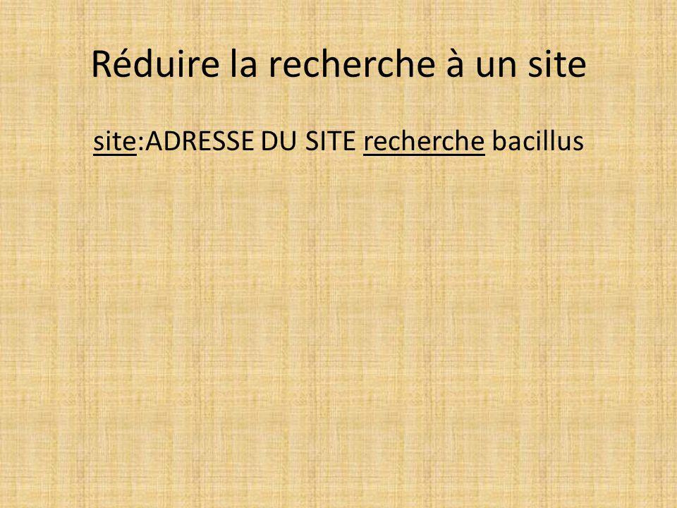 Réduire la recherche à un site site:ADRESSE DU SITE recherche bacillus