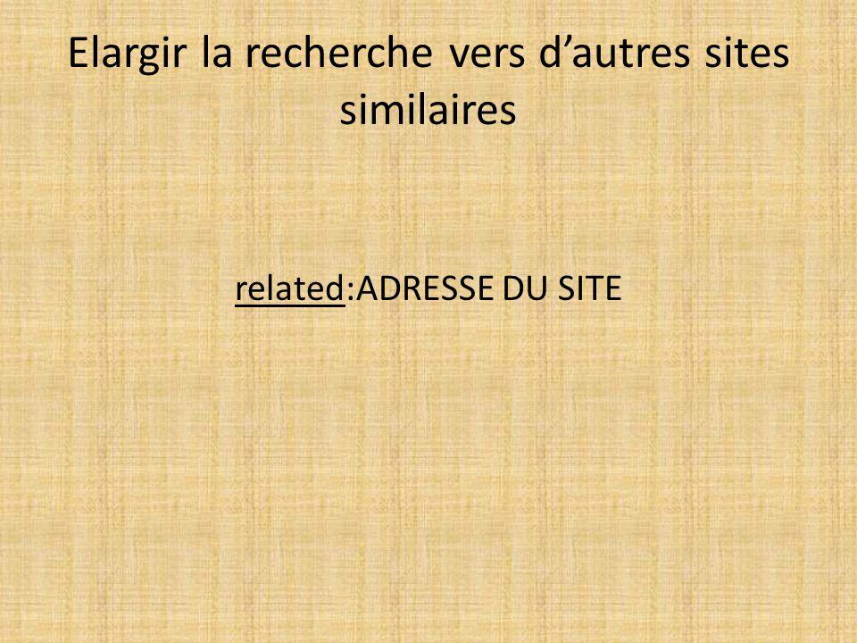 Elargir la recherche vers d'autres sites similaires related:ADRESSE DU SITE