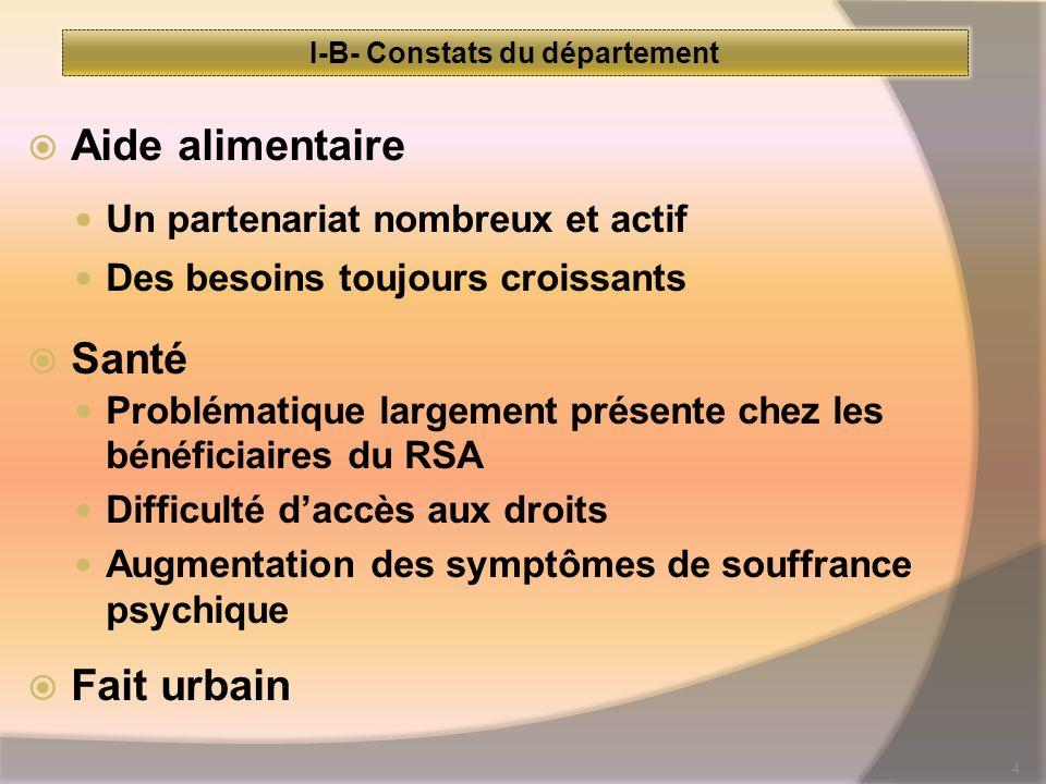 4 I-B- Constats du département  Aide alimentaire Un partenariat nombreux et actif Des besoins toujours croissants  Santé Problématique largement présente chez les bénéficiaires du RSA Difficulté d'accès aux droits Augmentation des symptômes de souffrance psychique  Fait urbain