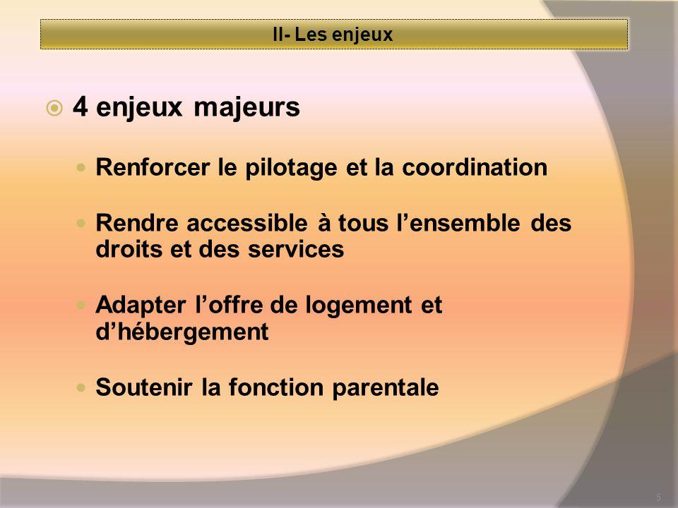 5 II- Les enjeux  4 enjeux majeurs Renforcer le pilotage et la coordination Rendre accessible à tous l'ensemble des droits et des services Adapter l'offre de logement et d'hébergement Soutenir la fonction parentale