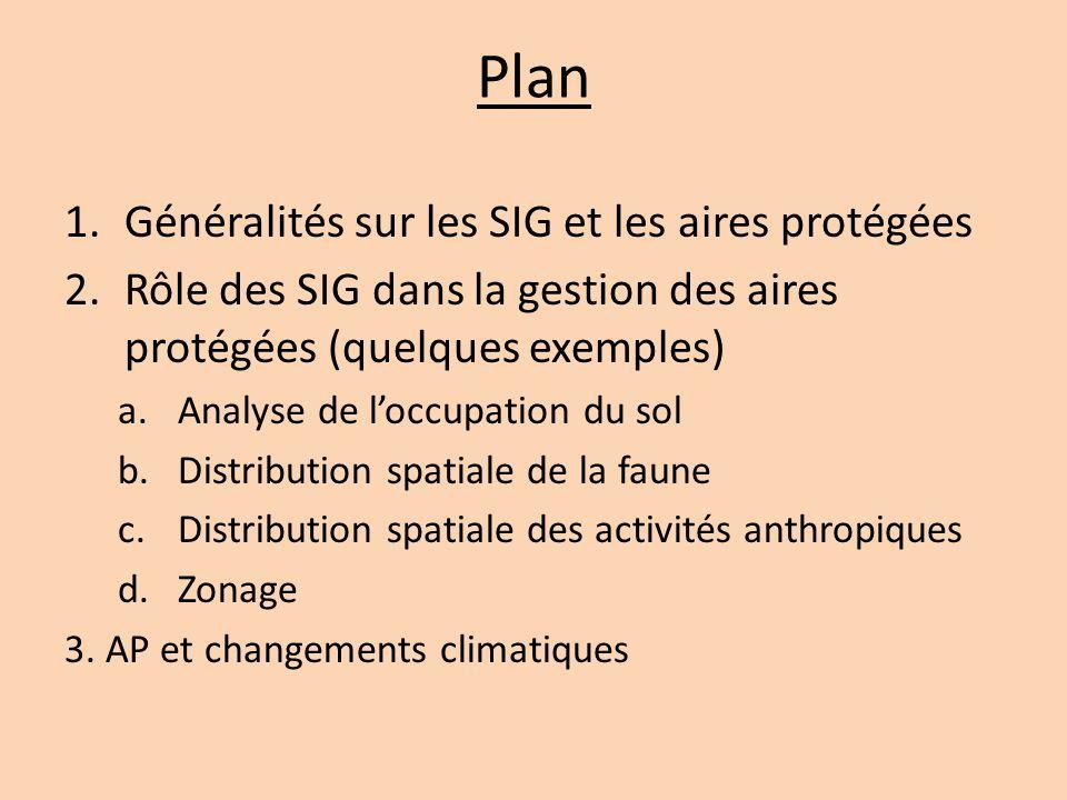 Plan 1.Généralités sur les SIG et les aires protégées 2.Rôle des SIG dans la gestion des aires protégées (quelques exemples) a.Analyse de l'occupation