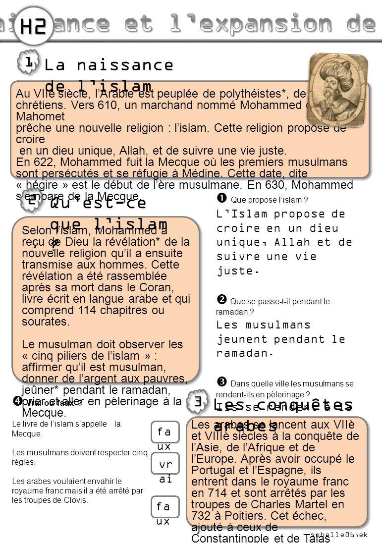 Au VIIè siècle, l'Arabie est peuplée de polythéistes*, de juifs et de chrétiens. Vers 610, un marchand nommé Mohammed ou Mahomet prêche une nouvelle r