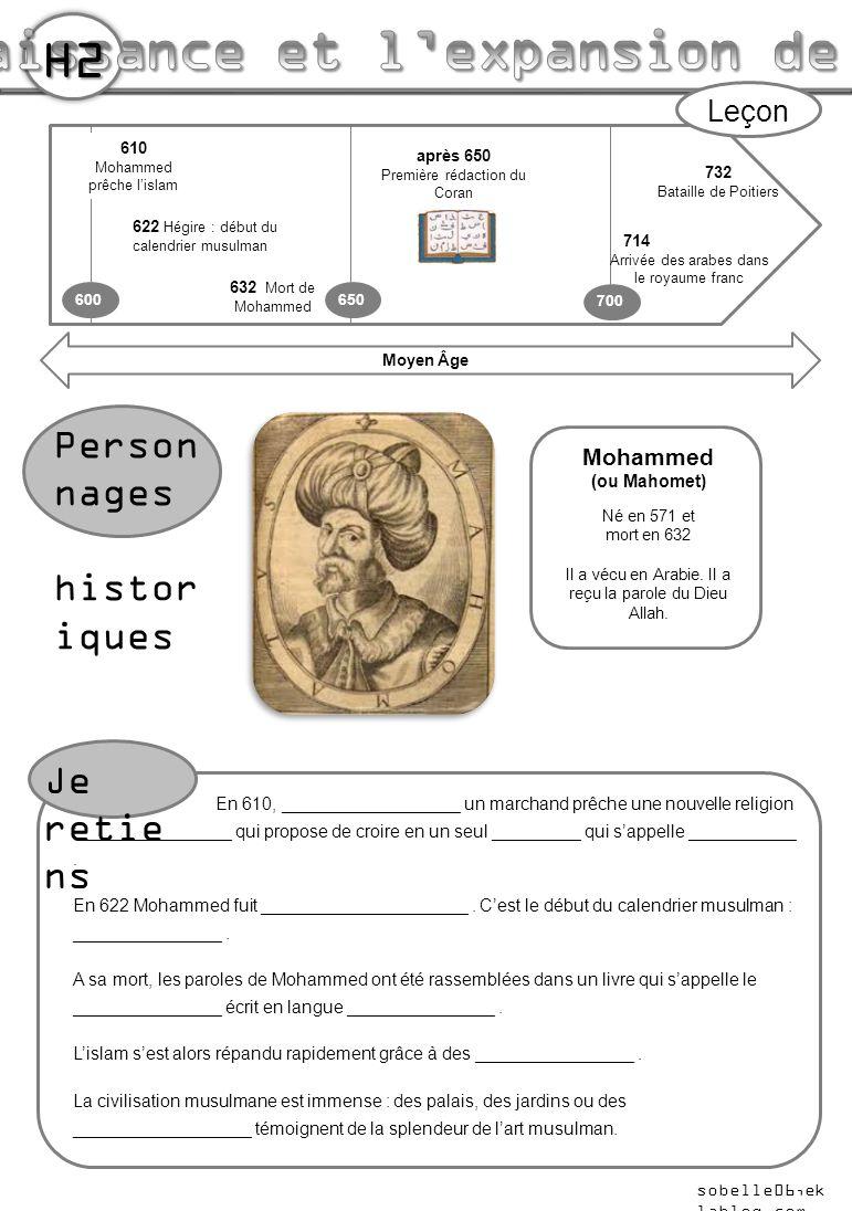 732 Bataille de Poitiers 600 700 610 Mohammed prêche l'islam 622 Hégire : début du calendrier musulman Moyen Âge Person nages histor iques Leçon Moham