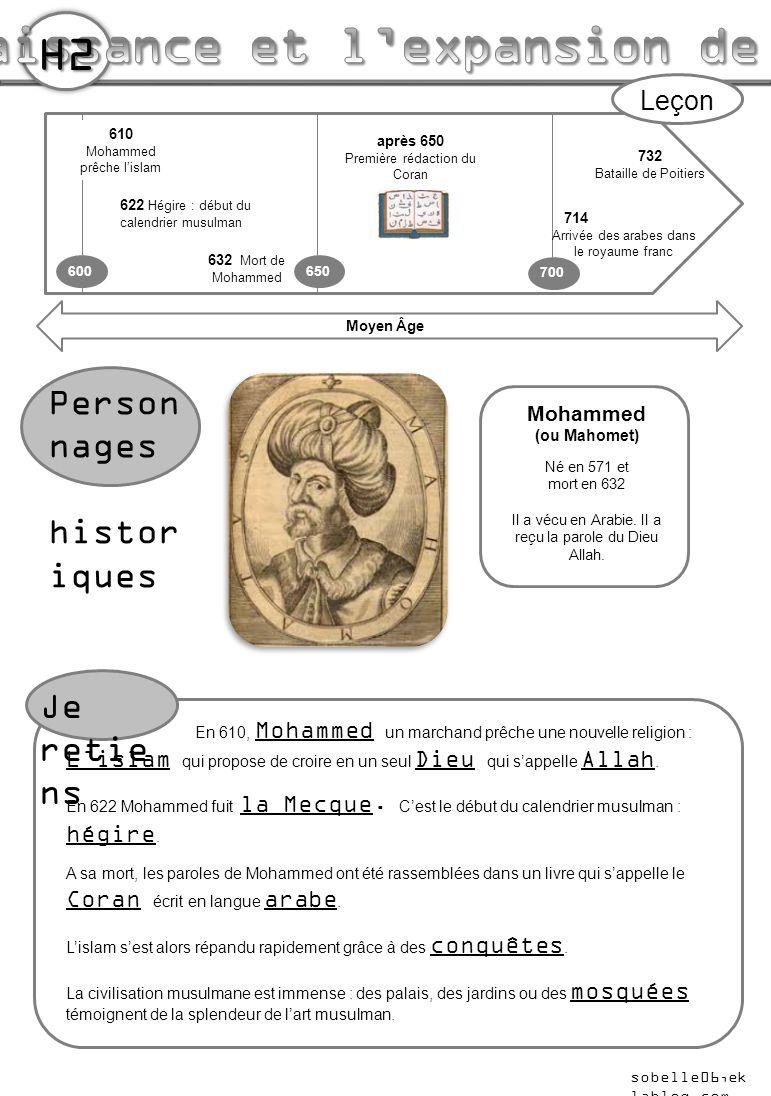 732 Bataille de Poitiers 600 700 610 Mohammed prêche l'islam 622 Hégire : début du calendrier musulman Moyen Âge Person nages histor iques Leçon Mohammed (ou Mahomet) Né en 571 et mort en 632 Il a vécu en Arabie.