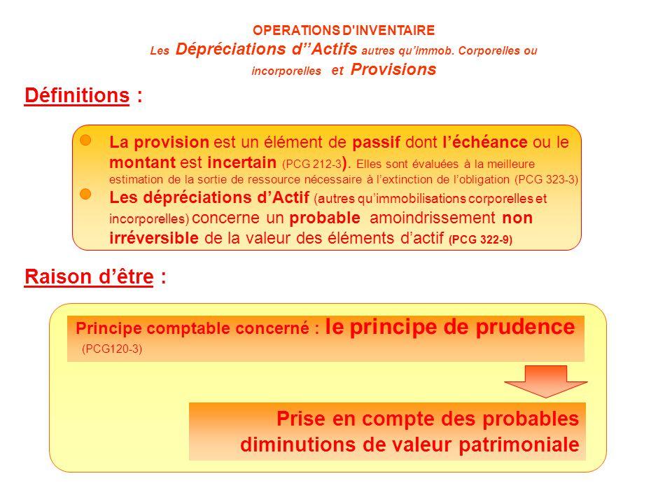 OPERATIONS D INVENTAIRE Les Dépréciations d''Actifs autres qu'immob.