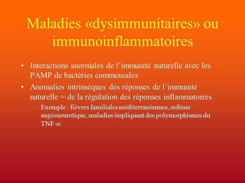 Maladies «dysimmunitaires» ou immunoinflammatoires Interactions anormales de l'immunité naturelle avec les PAMP de bactéries commensales Anomalies int