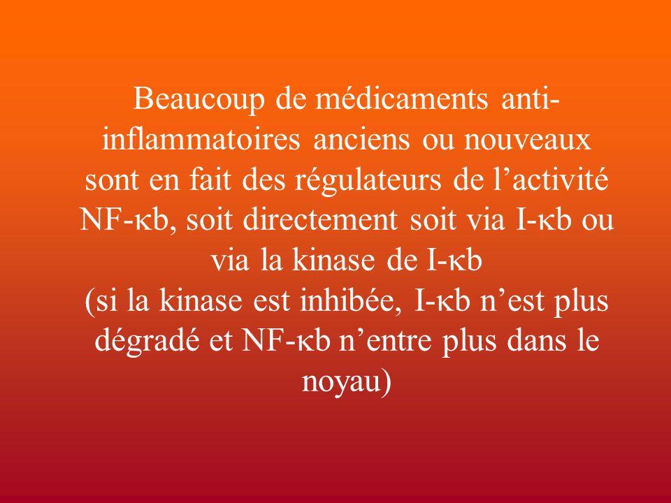 Beaucoup de médicaments anti- inflammatoires anciens ou nouveaux sont en fait des régulateurs de l'activité NF-  b, soit directement soit via I-  b