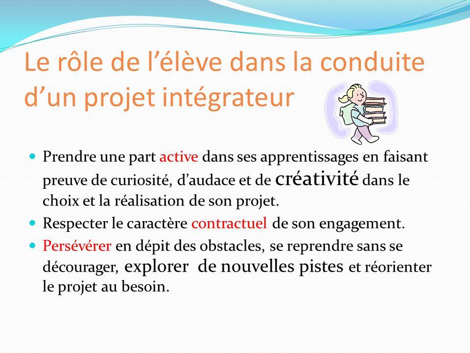 Le rôle de l'élève dans la conduite d'un projet intégrateur Prendre une part active dans ses apprentissages en faisant preuve de curiosité, d'audace e