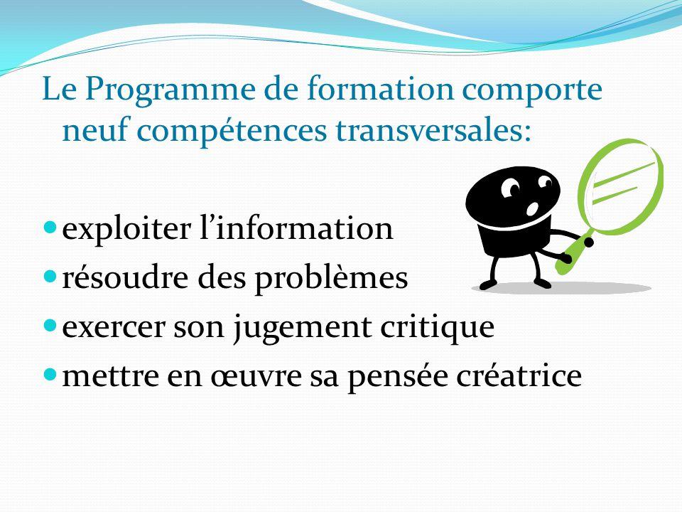 Le Programme de formation comporte neuf compétences transversales: exploiter l'information résoudre des problèmes exercer son jugement critique mettre