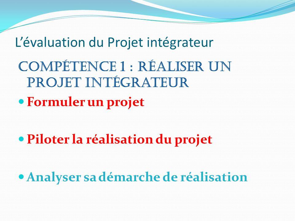 L'évaluation du Projet intégrateur Compétence 1 : Réaliser un projet intégrateur Formuler un projet Piloter la réalisation du projet Analyser sa démar