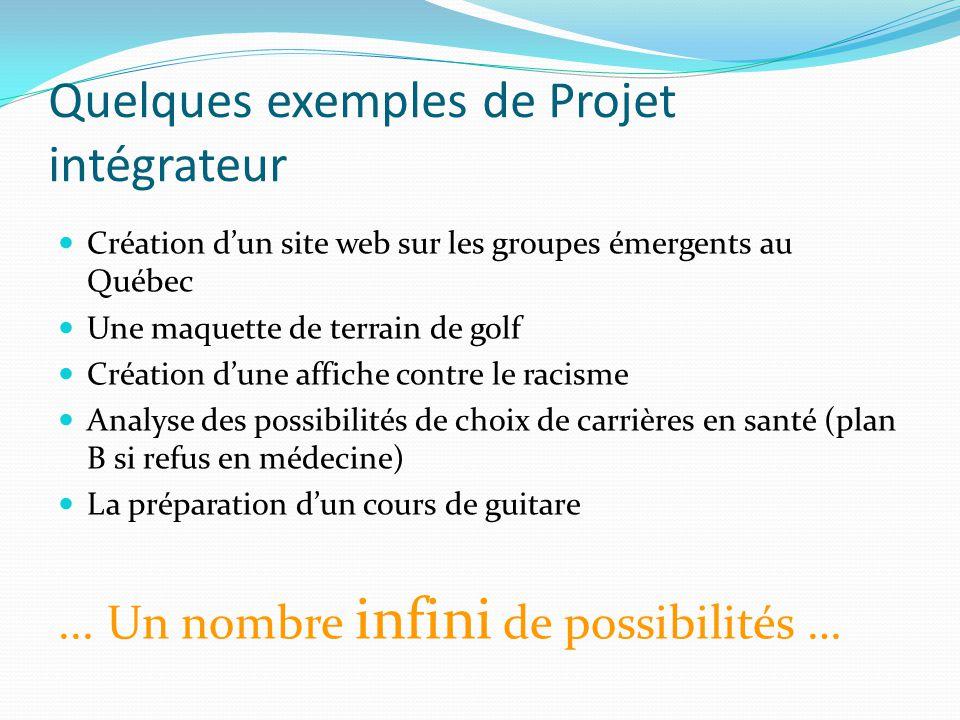 Quelques exemples de Projet intégrateur Création d'un site web sur les groupes émergents au Québec Une maquette de terrain de golf Création d'une affi