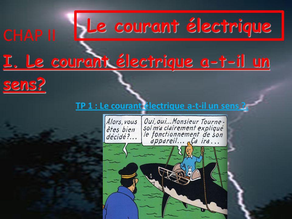 CHAP II Le courant électrique I.Le courant électrique a-t-il un sens.