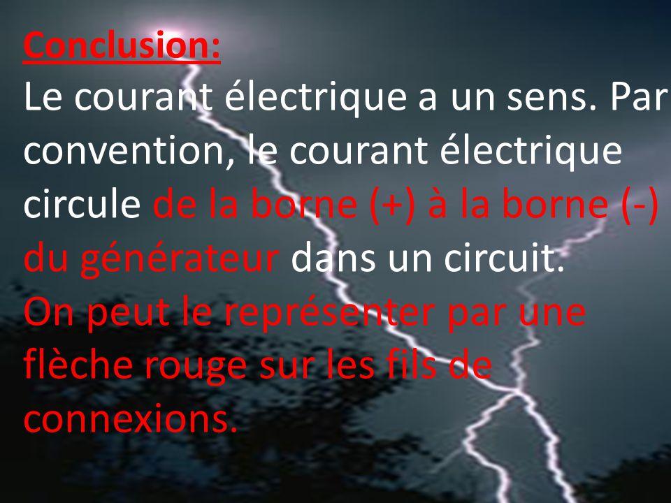 Conclusion: Le courant électrique a un sens.