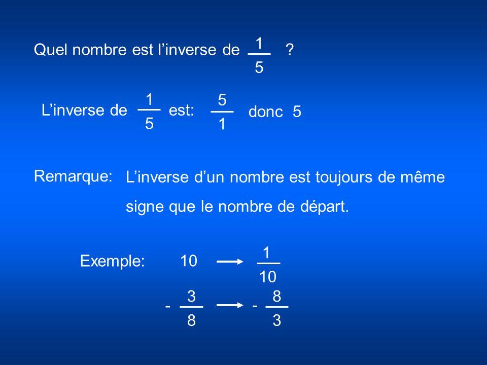 Quel nombre est l'inverse de ? 1 5 1 5 L'inverse de est: donc 5 5 1 L'inverse d'un nombre est toujours de même signe que le nombre de départ. Exemple: