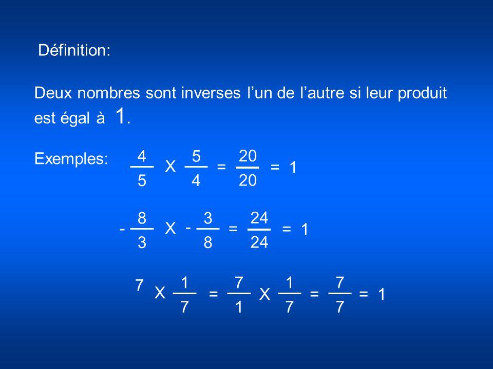 Définition: Deux nombres sont inverses l'un de l'autre si leur produit est égal à 1. Exemples: 4 5 5 4 X 20 = = 1 7 1 7 7 1 1 7 =X X 7 7 = 8 3 3 8 X 2