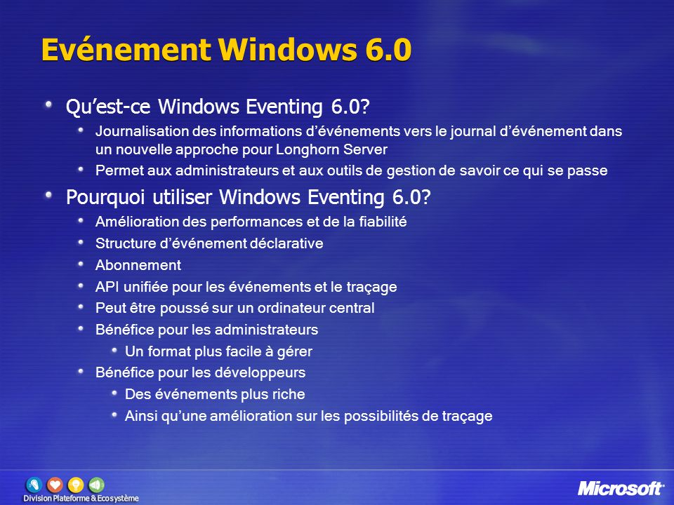 Evénement Windows 6.0 Qu'est-ce Windows Eventing 6.0.