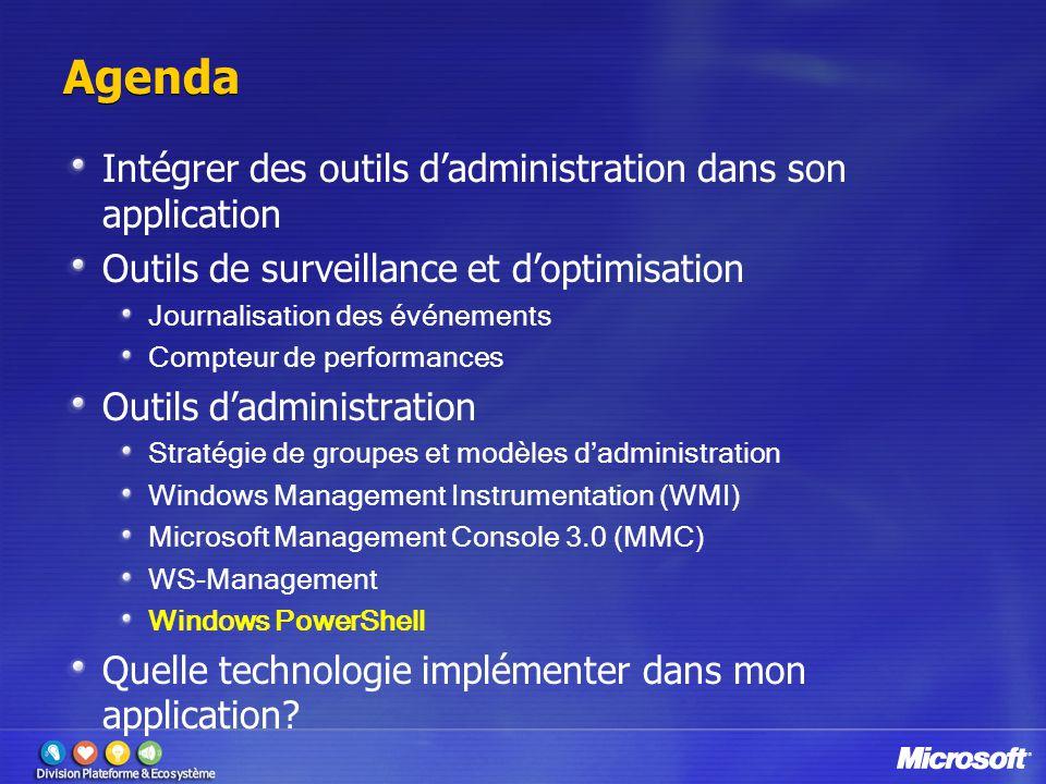 Agenda Intégrer des outils d'administration dans son application Outils de surveillance et d'optimisation Journalisation des événements Compteur de pe
