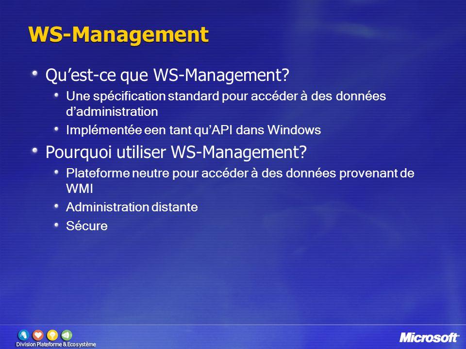WS-Management Qu'est-ce que WS-Management? Une spécification standard pour accéder à des données d'administration Implémentée een tant qu'API dans Win