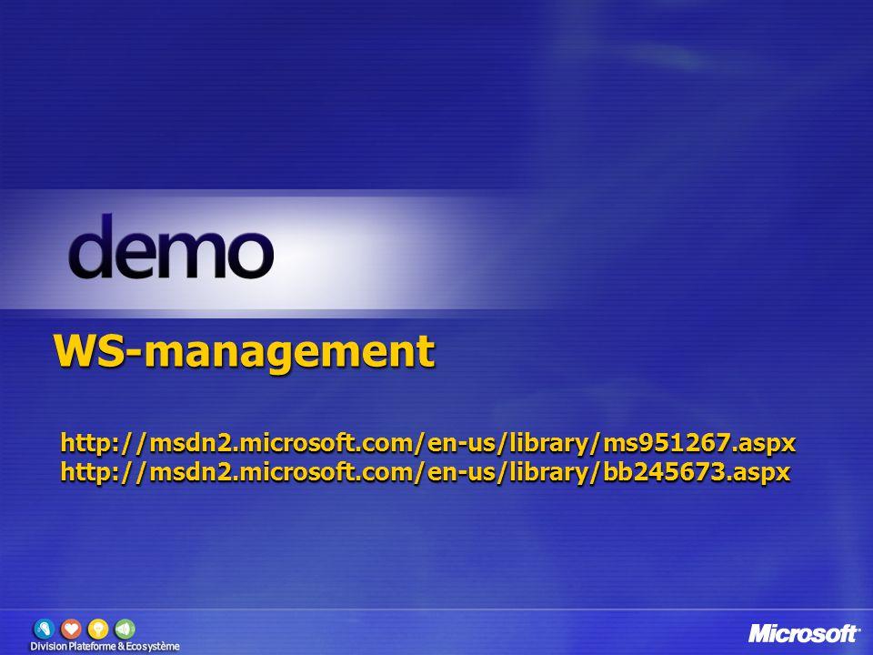 WS-management http://msdn2.microsoft.com/en-us/library/ms951267.aspx http://msdn2.microsoft.com/en-us/library/bb245673.aspx