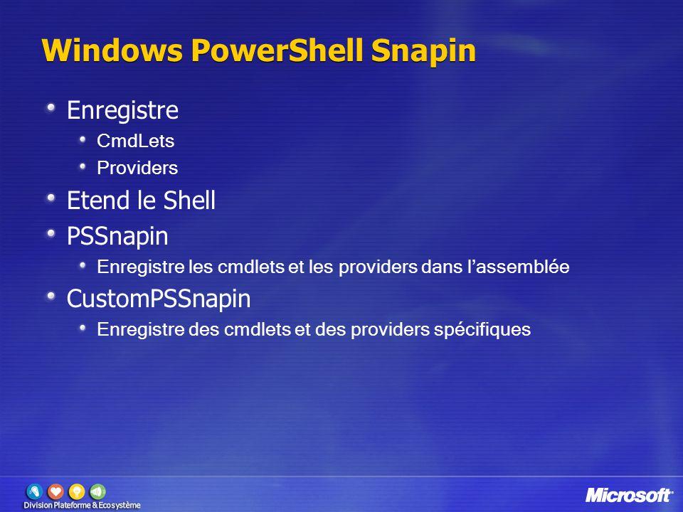 Windows PowerShell Snapin Enregistre CmdLets Providers Etend le Shell PSSnapin Enregistre les cmdlets et les providers dans l'assemblée CustomPSSnapin Enregistre des cmdlets et des providers spécifiques