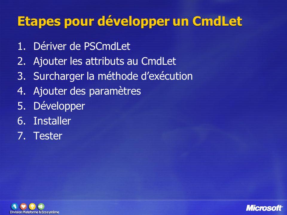 Etapes pour développer un CmdLet 1.Dériver de PSCmdLet 2.Ajouter les attributs au CmdLet 3.Surcharger la méthode d'exécution 4.Ajouter des paramètres 5.Développer 6.Installer 7.Tester