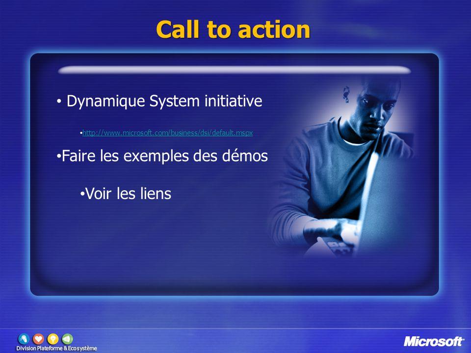 Call to action Dynamique System initiative http://www.microsoft.com/business/dsi/default.mspx Faire les exemples des démos Voir les liens