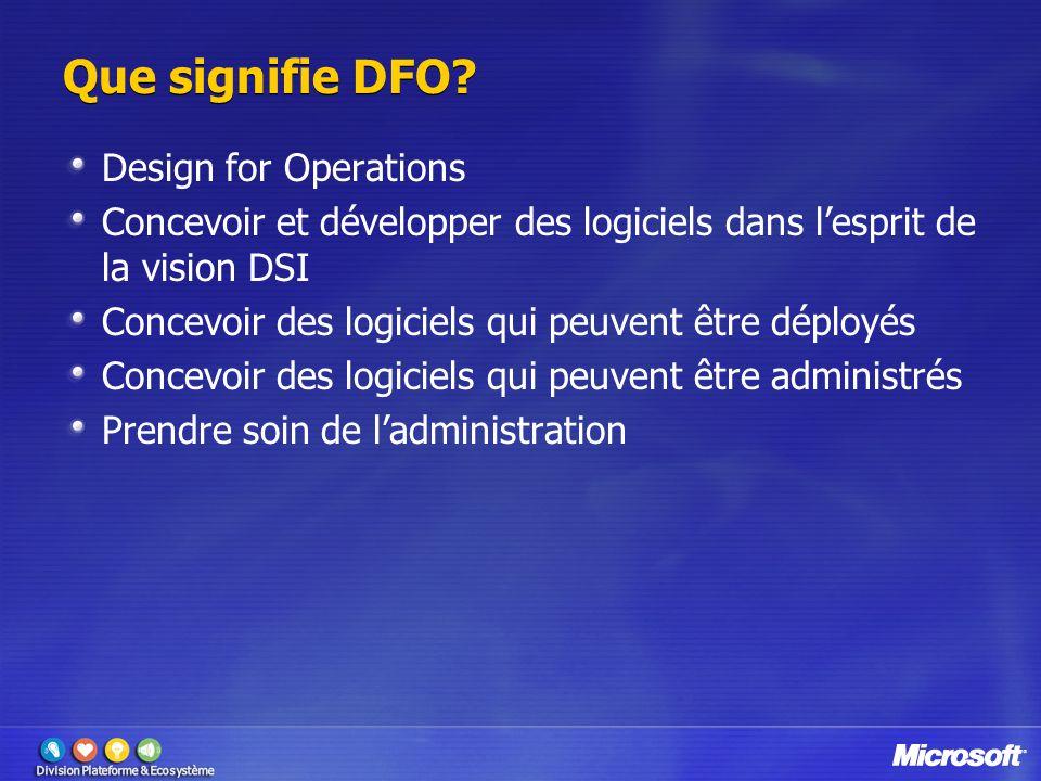 Que signifie DFO? Design for Operations Concevoir et développer des logiciels dans l'esprit de la vision DSI Concevoir des logiciels qui peuvent être