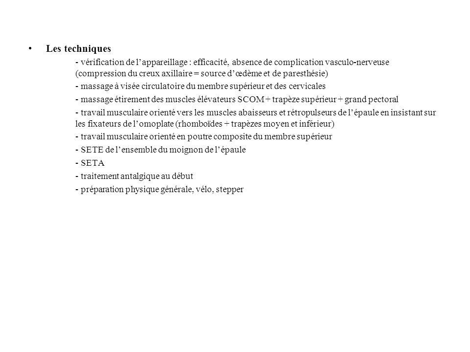 Les techniques - vérification de l'appareillage : efficacité, absence de complication vasculo-nerveuse (compression du creux axillaire = source d'œdème et de paresthésie) - massage à visée circulatoire du membre supérieur et des cervicales - massage étirement des muscles élévateurs SCOM + trapèze supérieur + grand pectoral - travail musculaire orienté vers les muscles abaisseurs et rétropulseurs de l'épaule en insistant sur les fixateurs de l'omoplate (rhomboïdes + trapèzes moyen et inférieur) - travail musculaire orienté en poutre composite du membre supérieur - SETE de l'ensemble du moignon de l'épaule - SETA - traitement antalgique au début - préparation physique générale, vélo, stepper