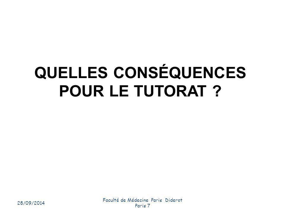 QUELLES CONSÉQUENCES POUR LE TUTORAT ? 28/09/2014 Faculté de Médecine Paris Diderot Paris 7 10