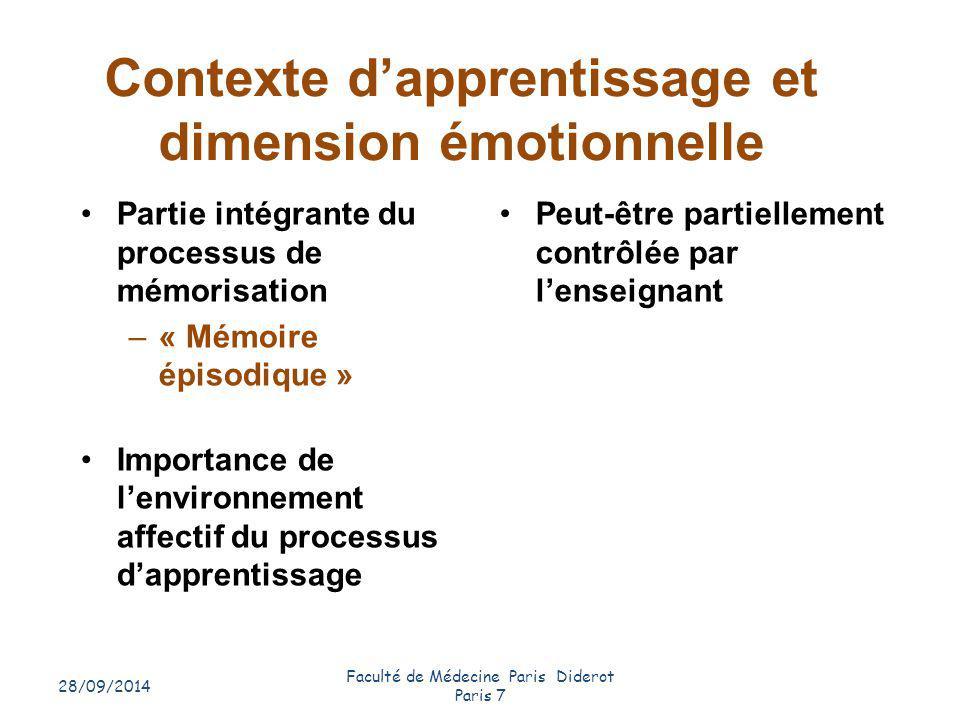 Contexte d'apprentissage et dimension émotionnelle 28/09/2014 Faculté de Médecine Paris Diderot Paris 7 16 Partie intégrante du processus de mémorisat