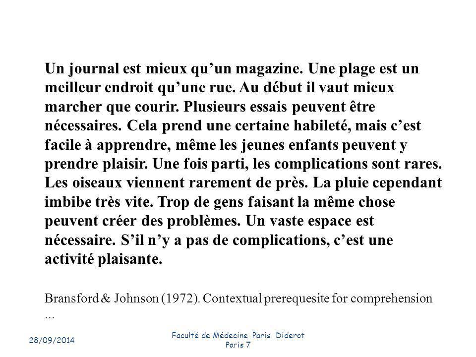 28/09/2014 Faculté de Médecine Paris Diderot Paris 7 17 Un journal est mieux qu'un magazine. Une plage est un meilleur endroit qu'une rue. Au début il