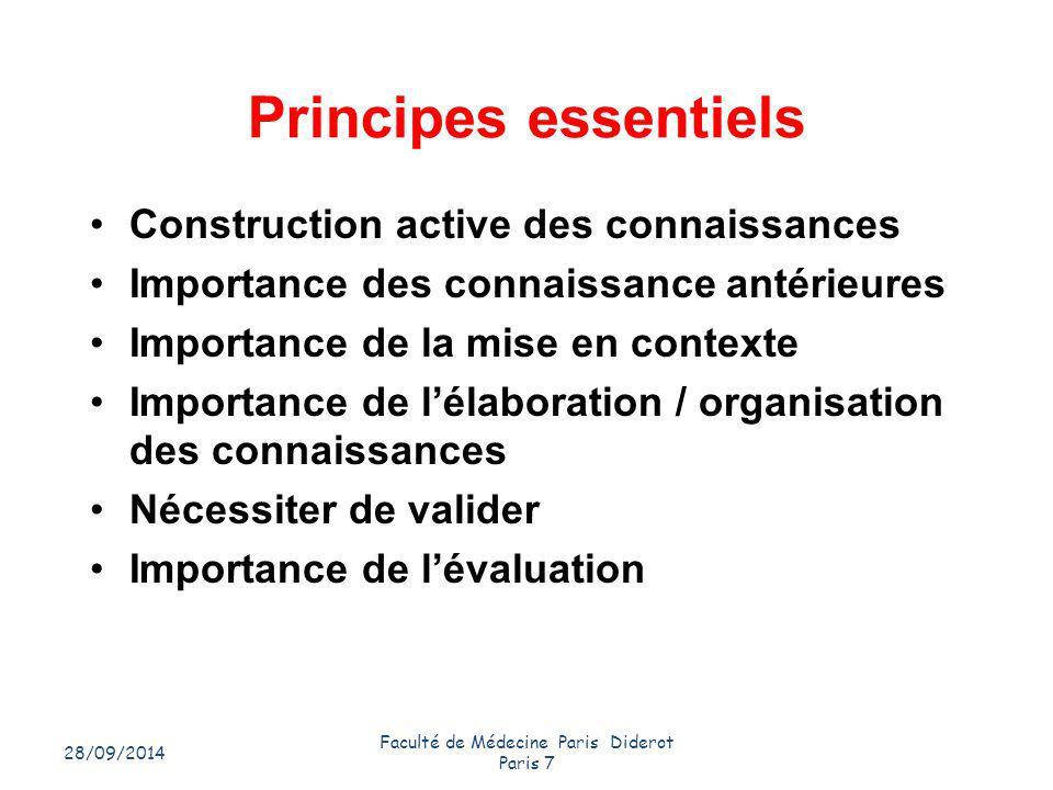 28/09/2014 Faculté de Médecine Paris Diderot Paris 7 4 Principes essentiels Construction active des connaissances Importance des connaissance antérieu