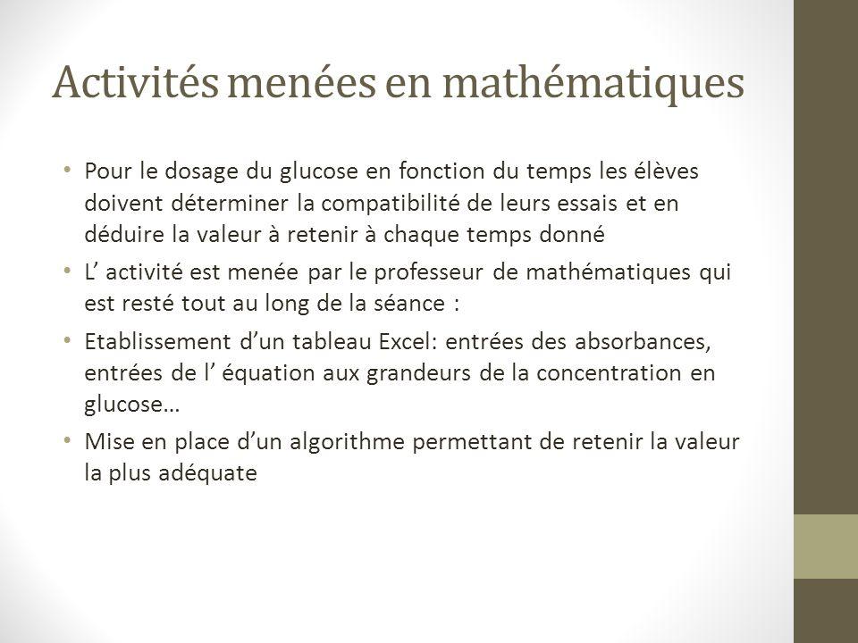Activités menées en mathématiques Pour le dosage du glucose en fonction du temps les élèves doivent déterminer la compatibilité de leurs essais et en