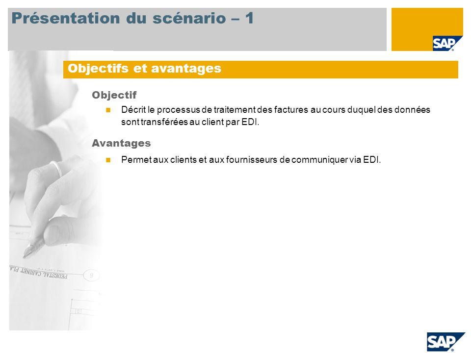 Présentation du scénario – 1 Objectifs et avantages Objectif Décrit le processus de traitement des factures au cours duquel des données sont transféré