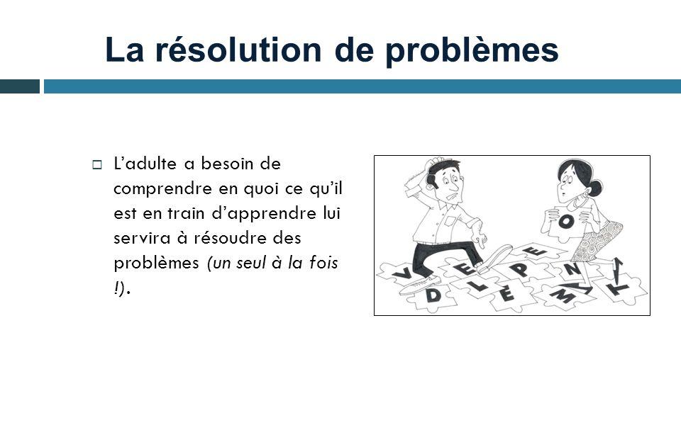 La résolution de problèmes  L'adulte a besoin de comprendre en quoi ce qu'il est en train d'apprendre lui servira à résoudre des problèmes (un seul à la fois !).