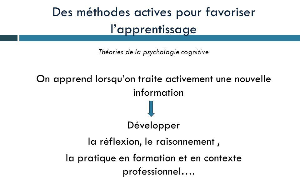 Des méthodes actives pour favoriser l'apprentissage Théories de la psychologie cognitive On apprend lorsqu'on traite activement une nouvelle information Développer la réflexion, le raisonnement, la pratique en formation et en contexte professionnel….
