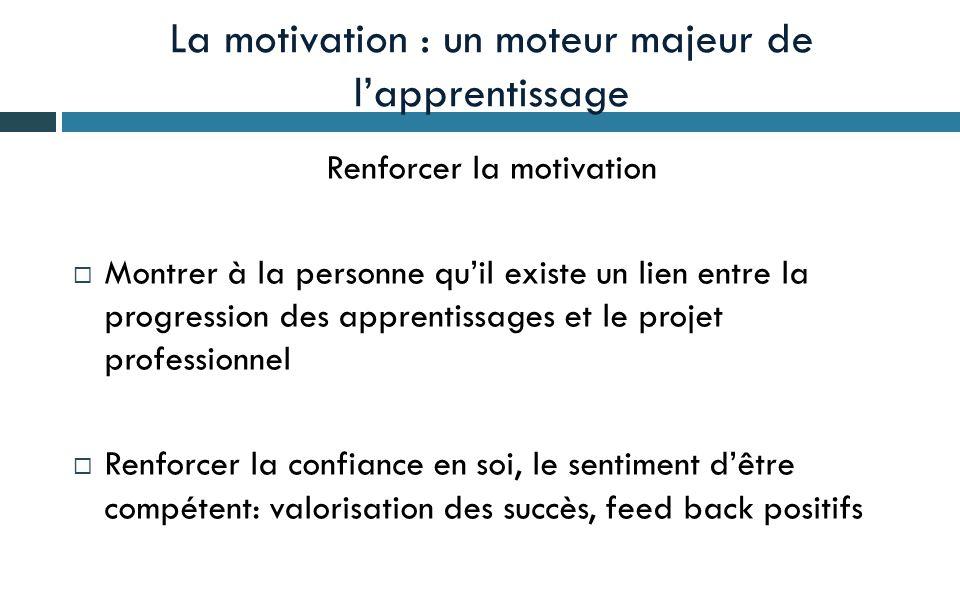 La motivation : un moteur majeur de l'apprentissage Renforcer la motivation  Montrer à la personne qu'il existe un lien entre la progression des apprentissages et le projet professionnel  Renforcer la confiance en soi, le sentiment d'être compétent: valorisation des succès, feed back positifs