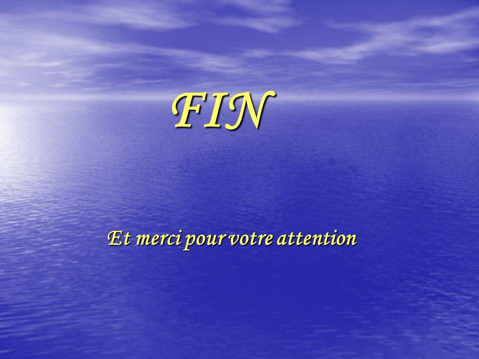 FIN FIN Et merci pour votre attention Et merci pour votre attention