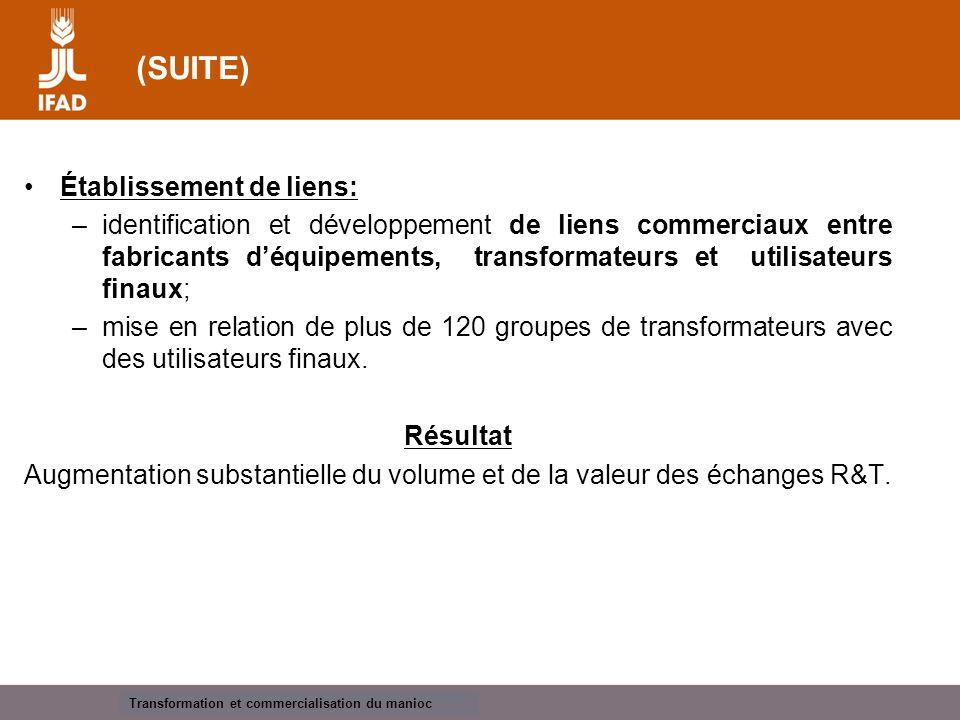 Cassava processing and marketing OBSTACLES À LA COMMERCIALISATION DURANT LE 1 ER TRIMESTRE Manque de crédit et de capital-risque.