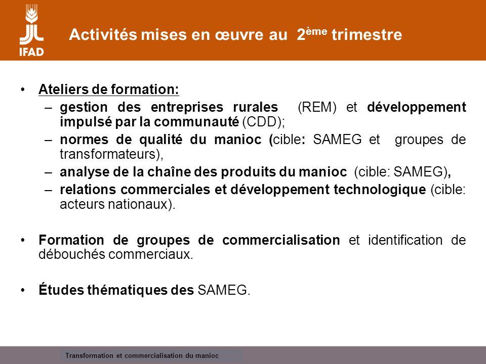 Cassava processing and marketing Contraintes et opportunités Contraintes: Réticence des minotiers à acheter de la farine de manioc de qualité supérieure.