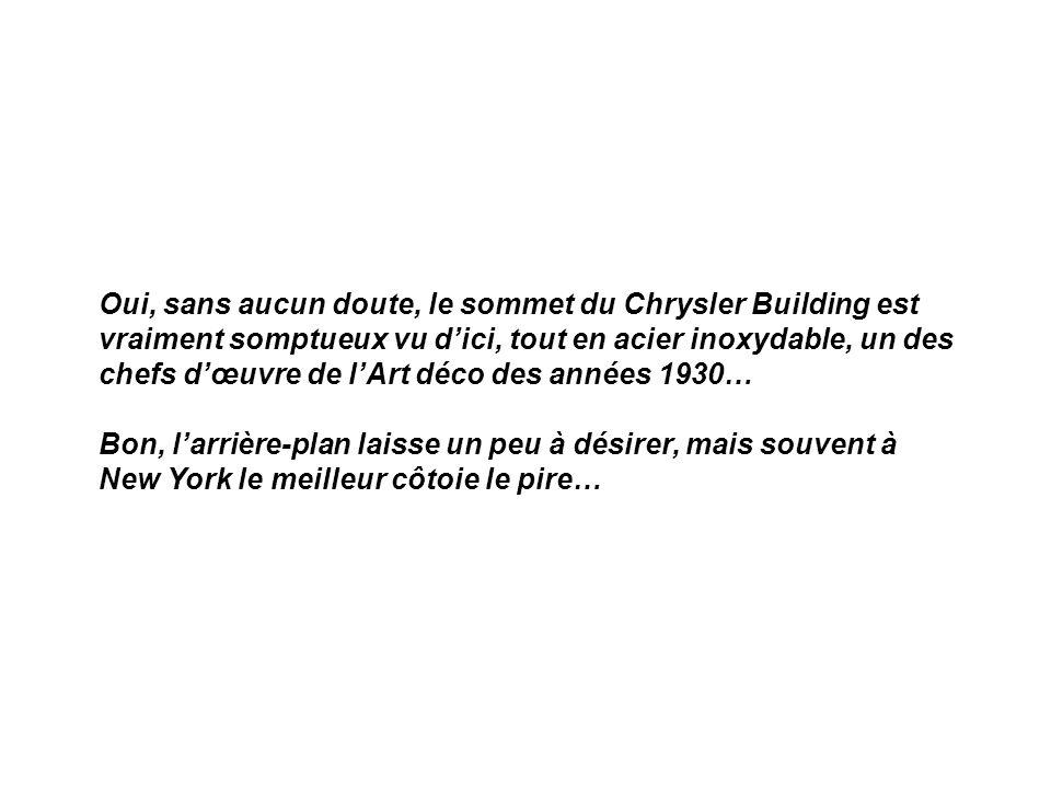 Oui, sans aucun doute, le sommet du Chrysler Building est vraiment somptueux vu d'ici, tout en acier inoxydable, un des chefs d'œuvre de l'Art déco des années 1930… Bon, l'arrière-plan laisse un peu à désirer, mais souvent à New York le meilleur côtoie le pire…