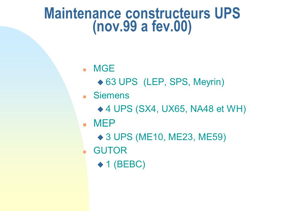 Maintenance constructeurs UPS (nov.99 a fev.00) n MGE u 63 UPS (LEP, SPS, Meyrin) n Siemens u 4 UPS (SX4, UX65, NA48 et WH) n MEP u 3 UPS (ME10, ME23,