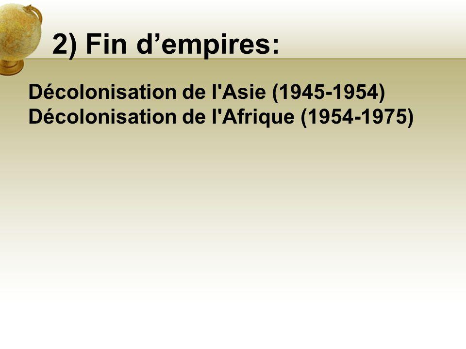 2) Fin d'empires: Décolonisation de l'Asie (1945-1954) Décolonisation de l'Afrique (1954-1975)