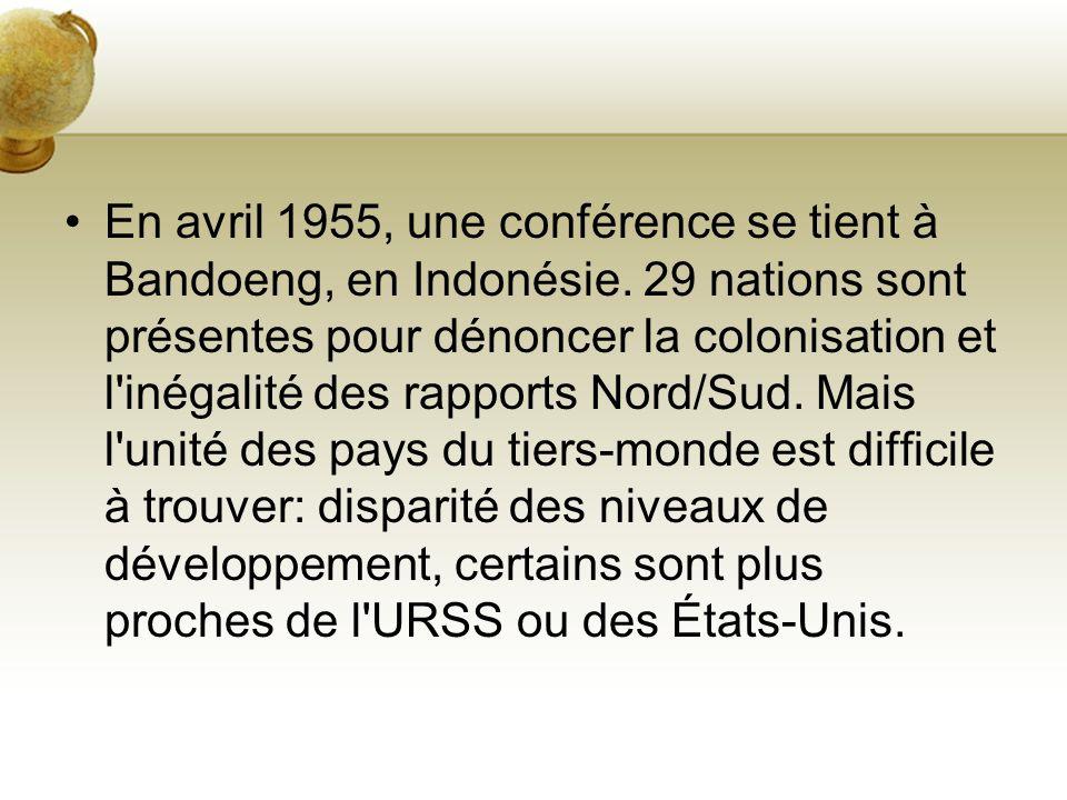 En avril 1955, une conférence se tient à Bandoeng, en Indonésie. 29 nations sont présentes pour dénoncer la colonisation et l'inégalité des rapports N
